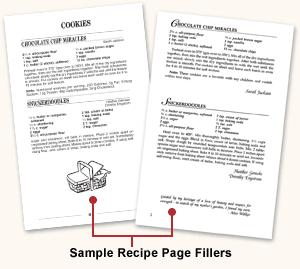 recipe page options morris press cookbooks